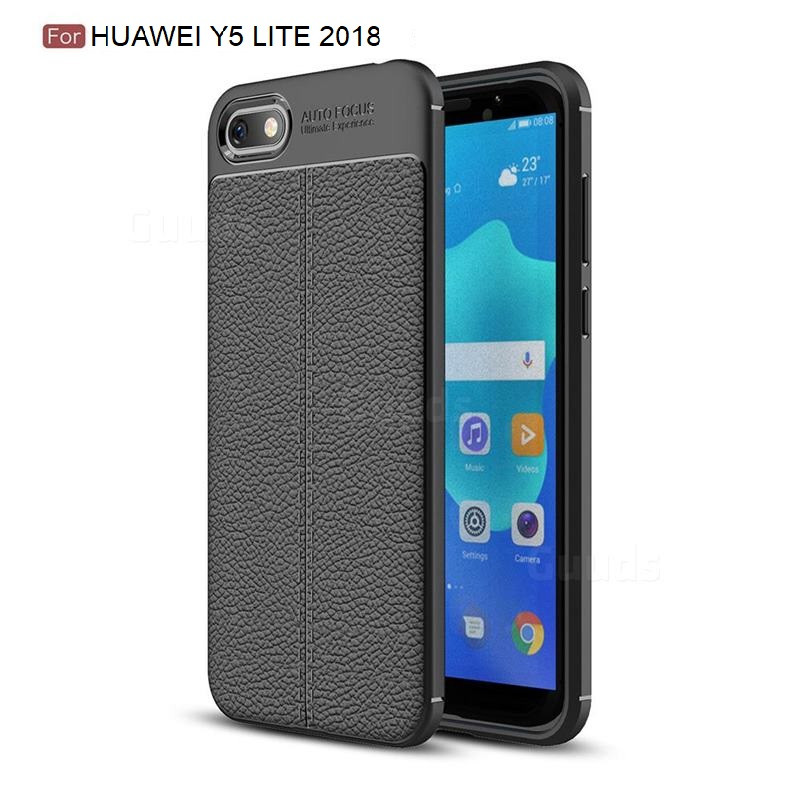 Силиконовый чехол Auto Focus Leather case для Huawei Y5 Lite 2018 (черный)