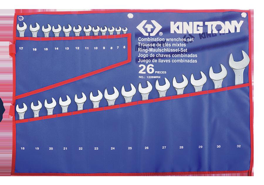 Набор рожково-накидных ключей KING TONY 1226MRN (26 предмета)