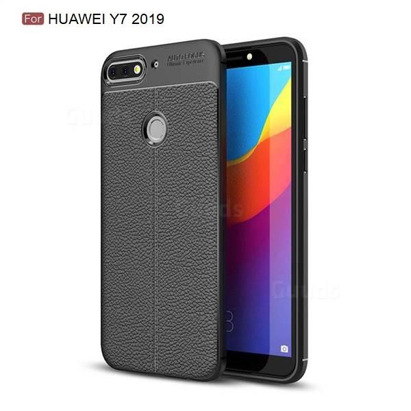 Силиконовый чехол Auto Focus Leather case для Huawei Y7 2019 (черный)