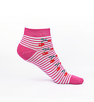 Носки женские, розовые в полоску с вишенкой