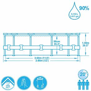 Круглый каркасный бассейн Bestwey 56418 (366 х 100 см, на 9150 литров), фото 2