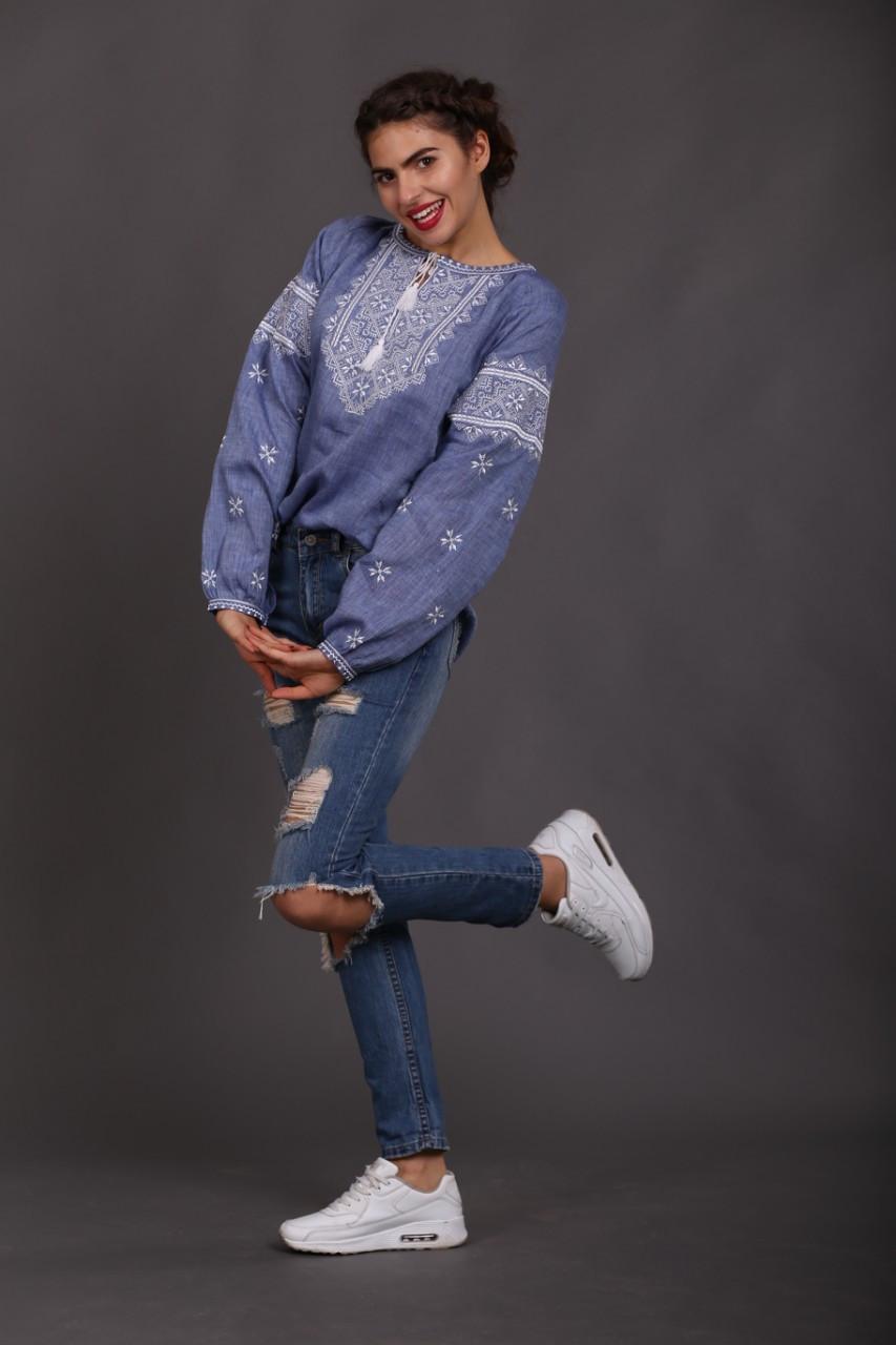 """Женская вышиванка """"Твори мир"""", лен джинс - фото 7"""
