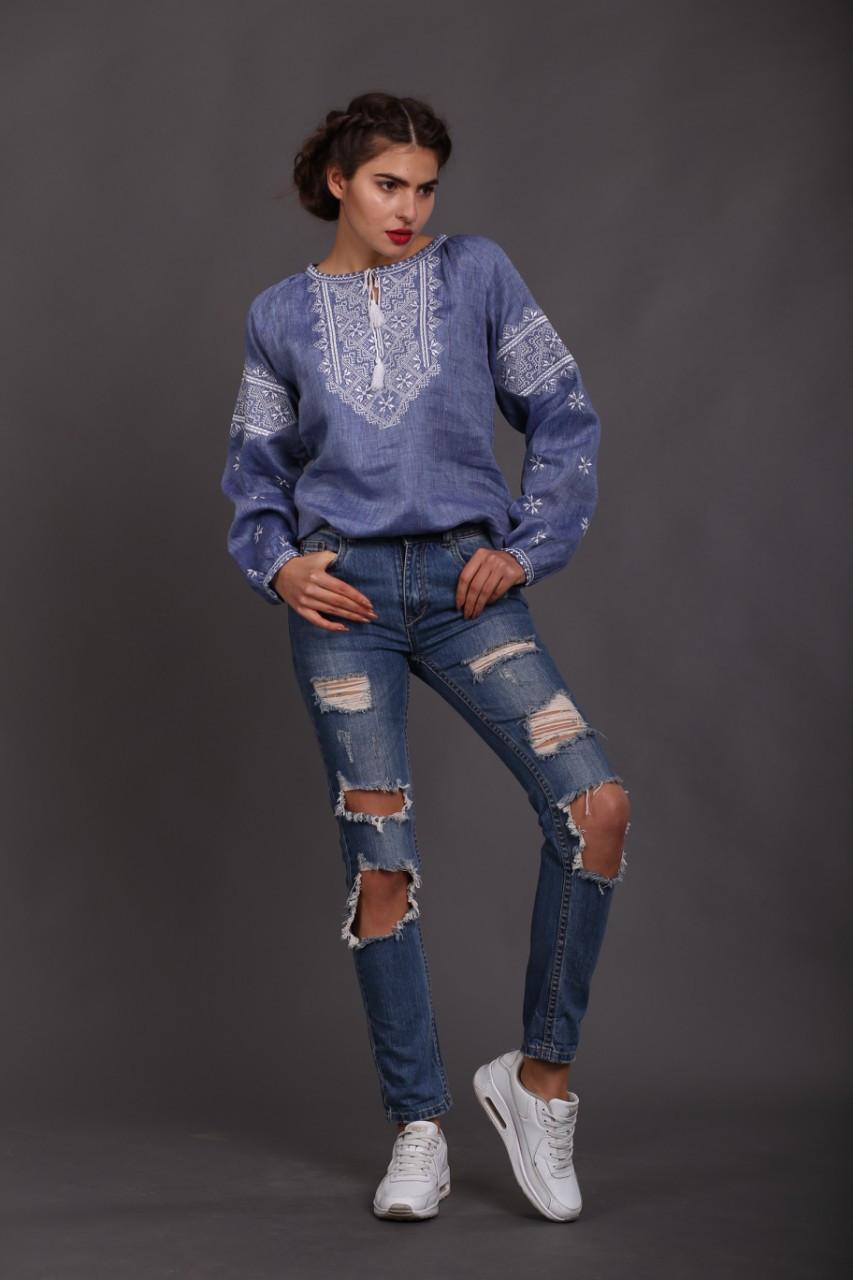 """Женская вышиванка """"Твори мир"""", лен джинс - фото 9"""