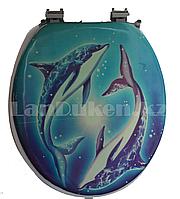 """Сидение с крышкой для унитаза и крепленьями """"Дельфины"""" (уценка)"""