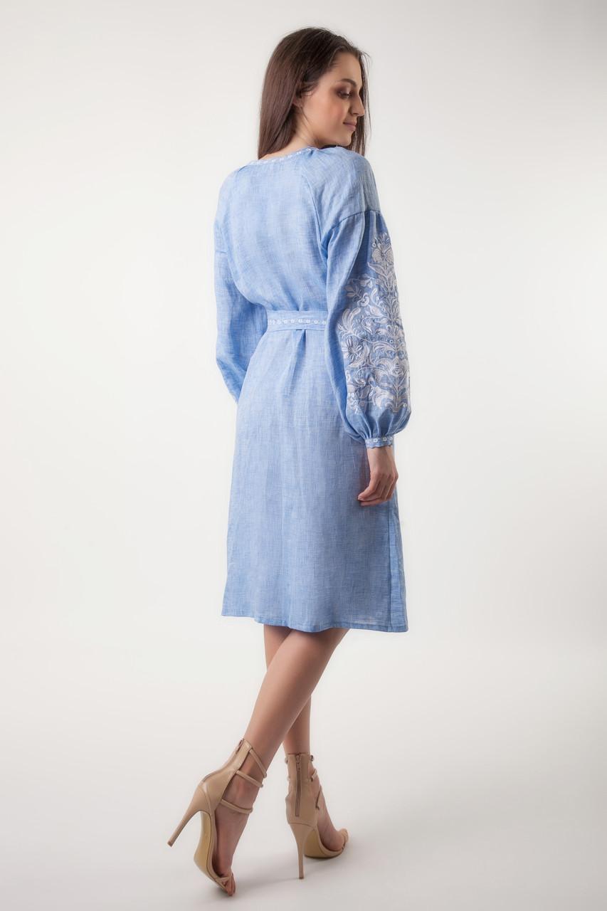 Платье с вышивкой Дерево жизни, лен джинс, белая вышивка - фото 2