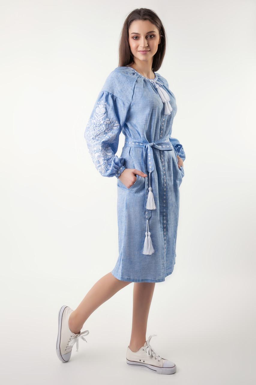 Платье с вышивкой Дерево жизни, лен джинс, белая вышивка - фото 3