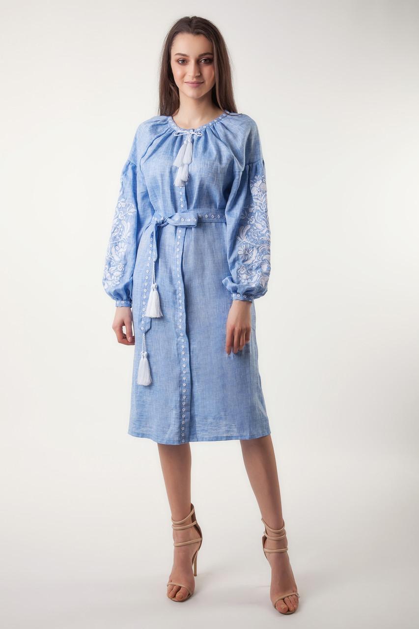 Платье с вышивкой Дерево жизни, лен джинс, белая вышивка - фото 4
