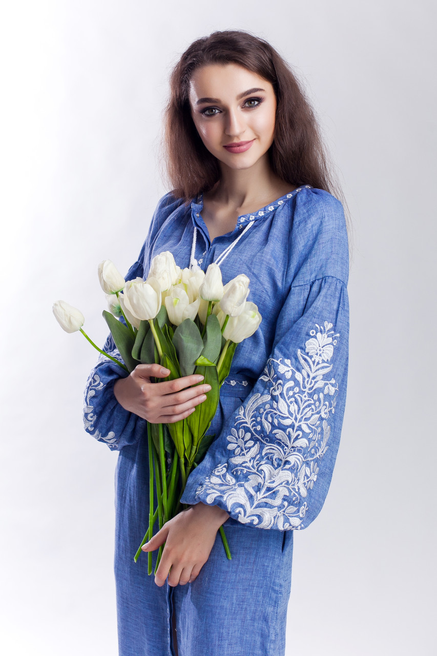 Платье с вышивкой Дерево жизни, лен джинс, белая вышивка - фото 5