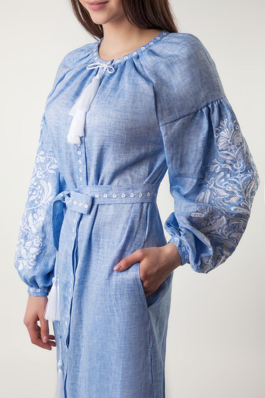 Платье с вышивкой Дерево жизни, лен джинс, белая вышивка - фото 7