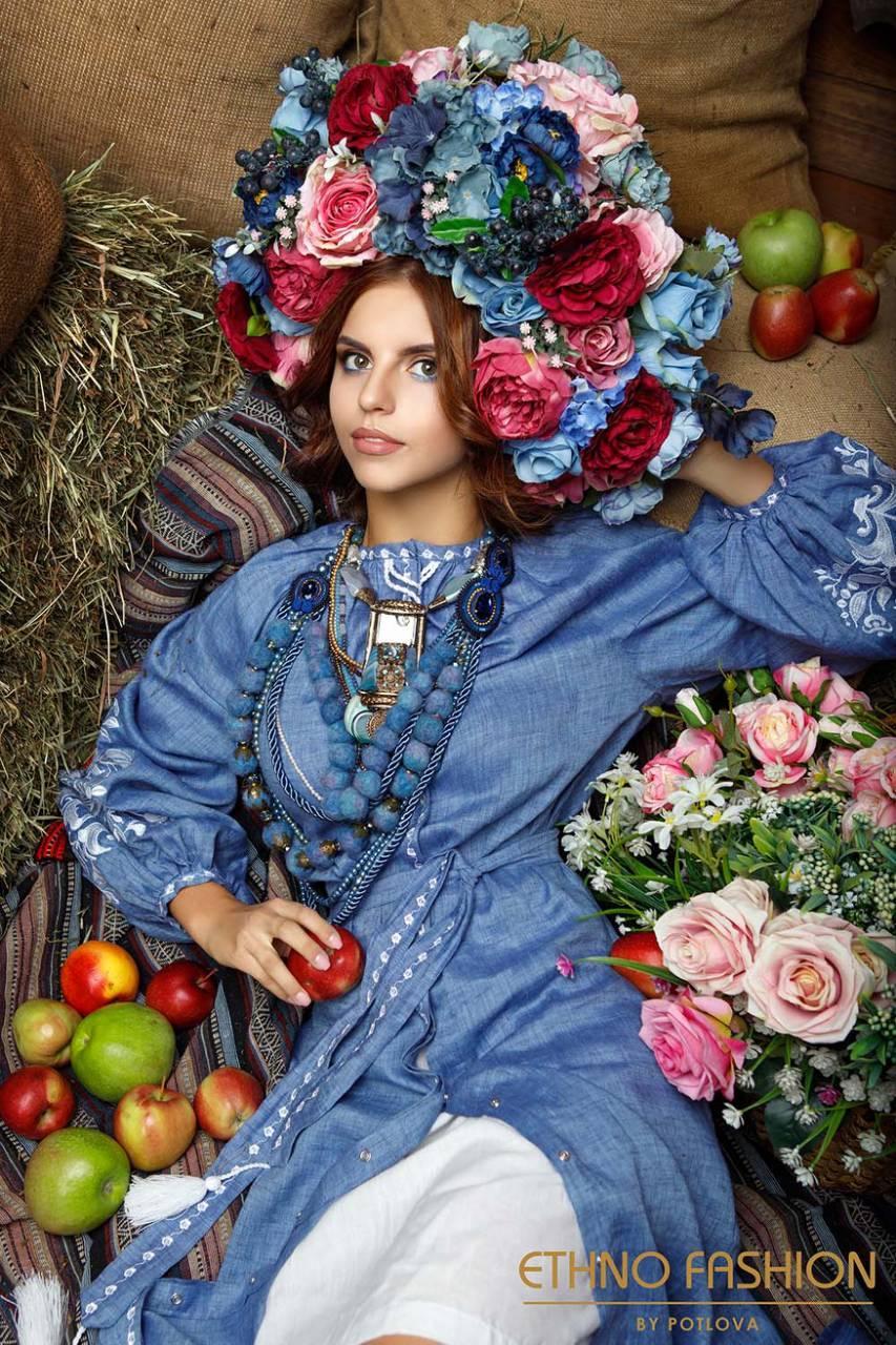 Платье с вышивкой Дерево жизни, лен джинс, белая вышивка - фото 10