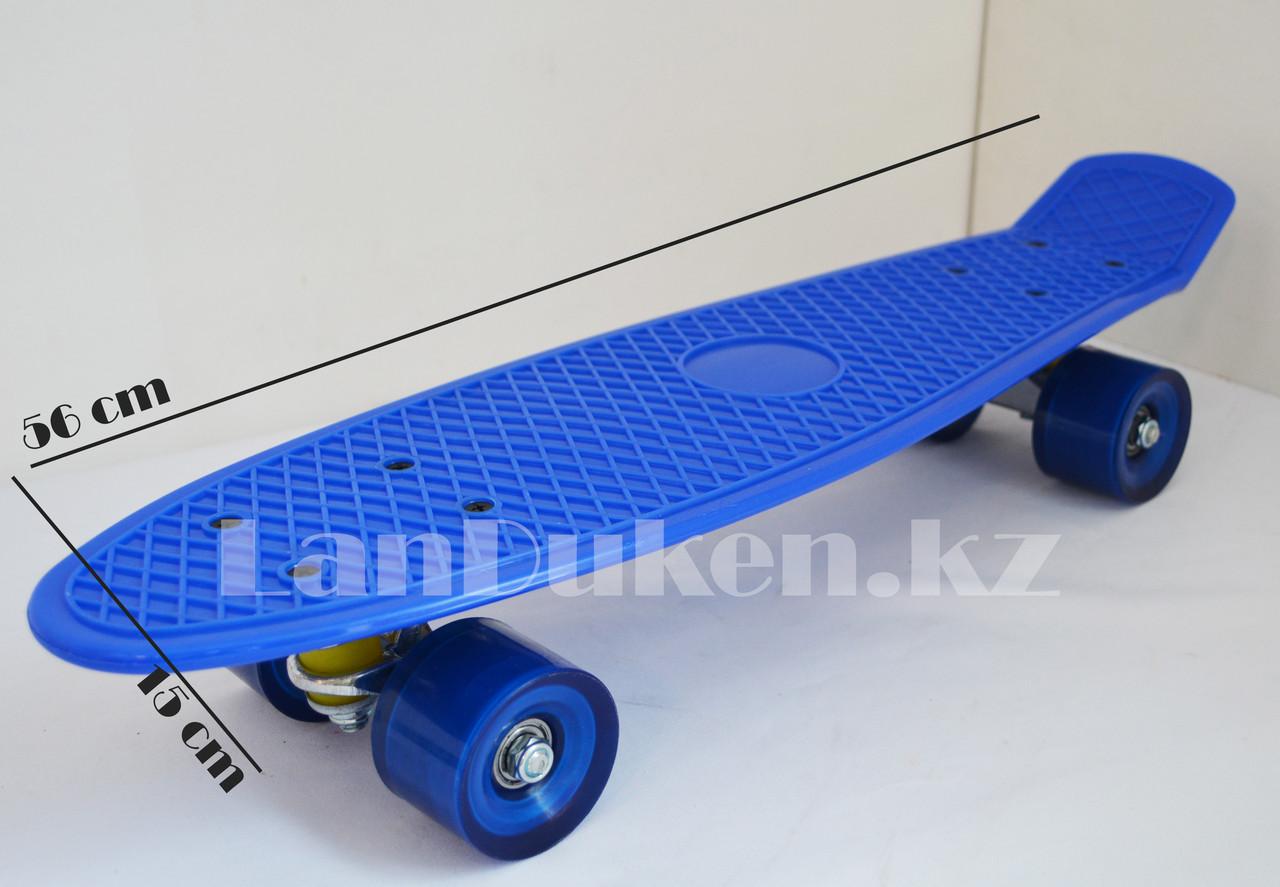 Пенни борд подростковый 56*15 Penny Board с гелевыми колесами синий - фото 2