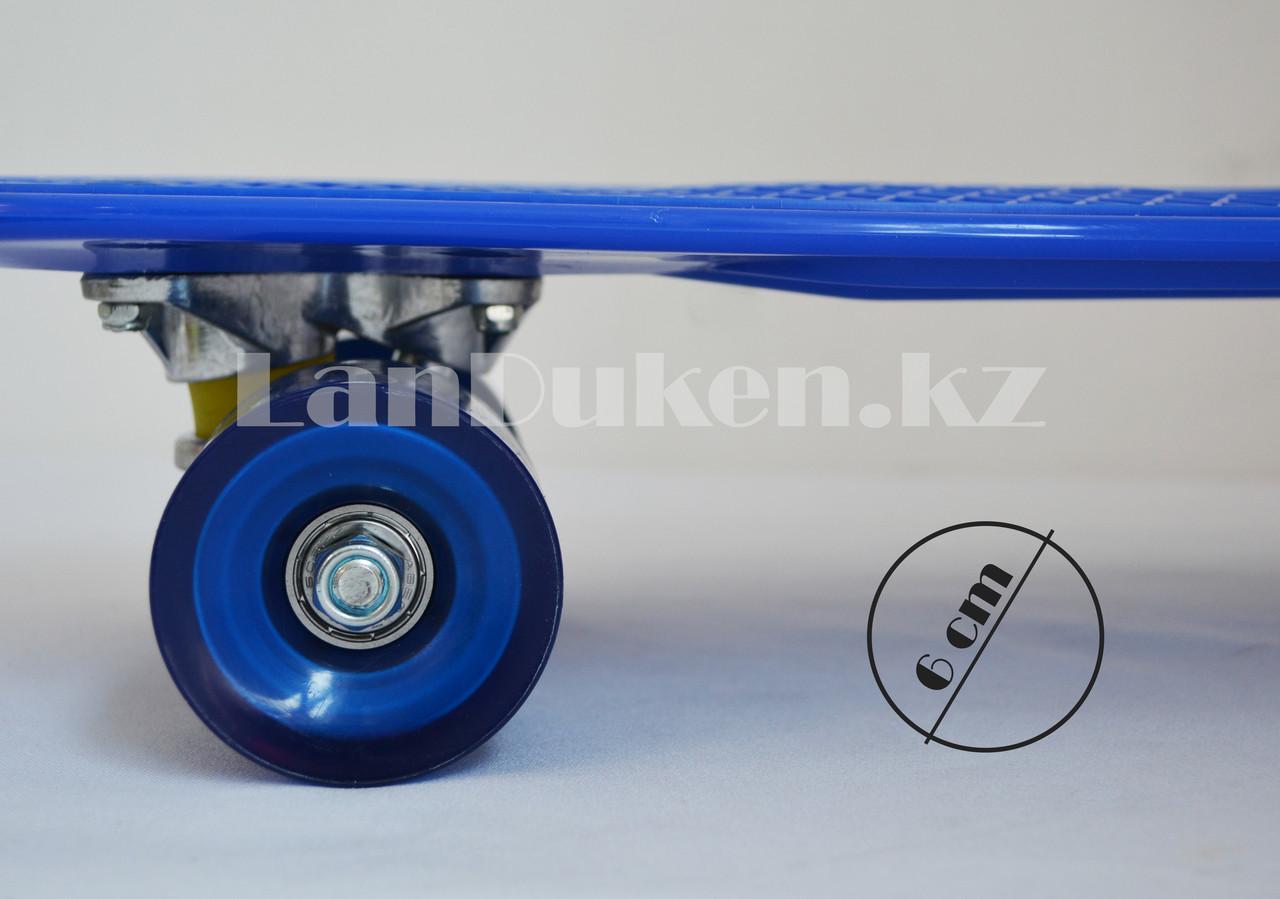 Пенни борд подростковый 56*15 Penny Board с гелевыми колесами синий - фото 3