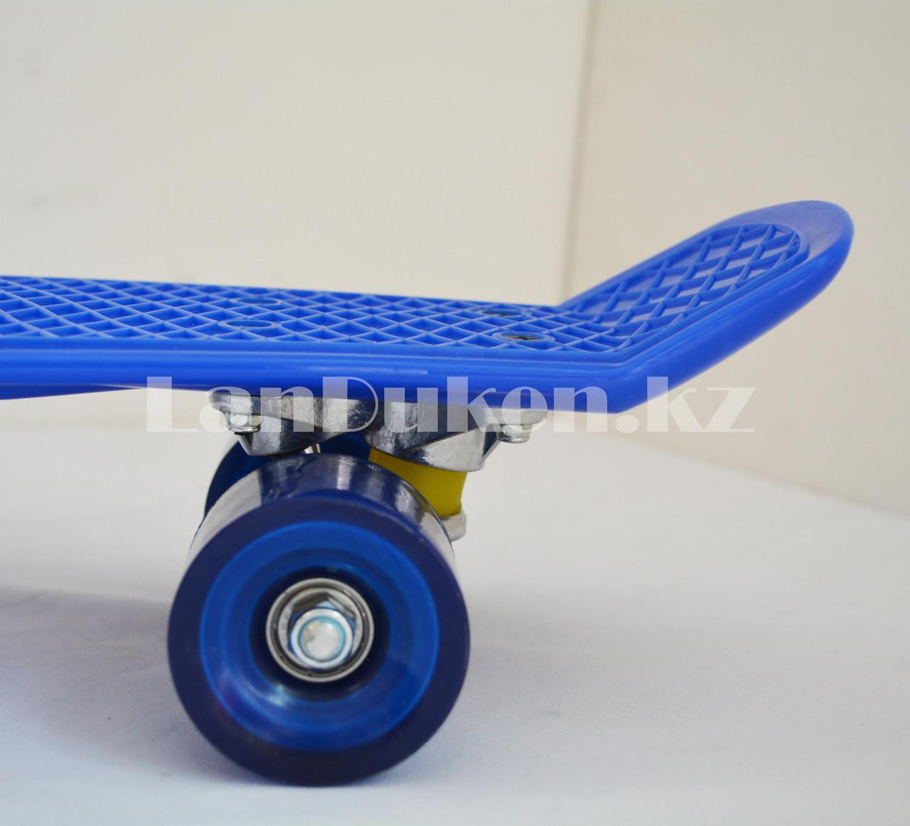 Пенни борд подростковый 56*15 Penny Board с гелевыми колесами синий - фото 4