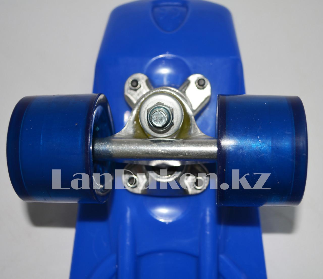 Пенни борд подростковый 56*15 Penny Board с гелевыми колесами синий - фото 5