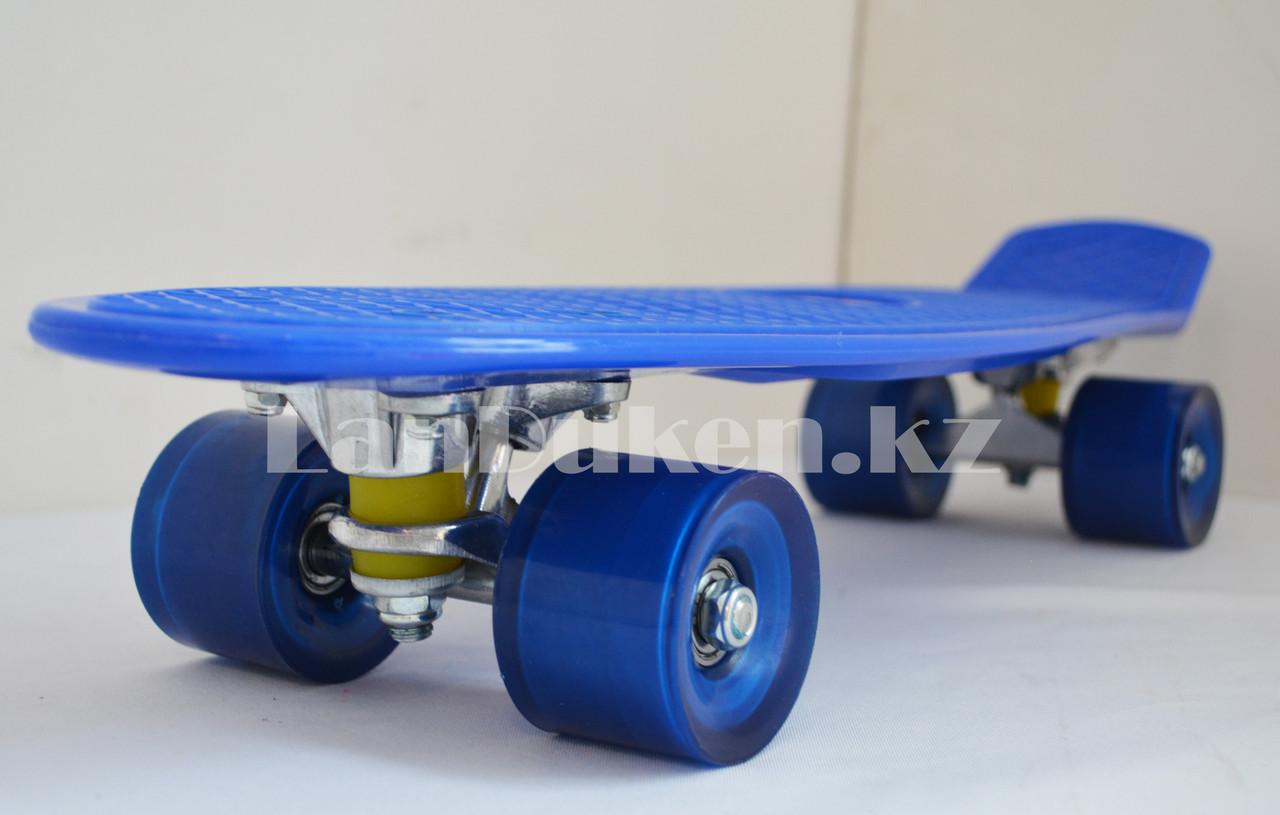 Пенни борд подростковый 56*15 Penny Board с гелевыми колесами синий - фото 6