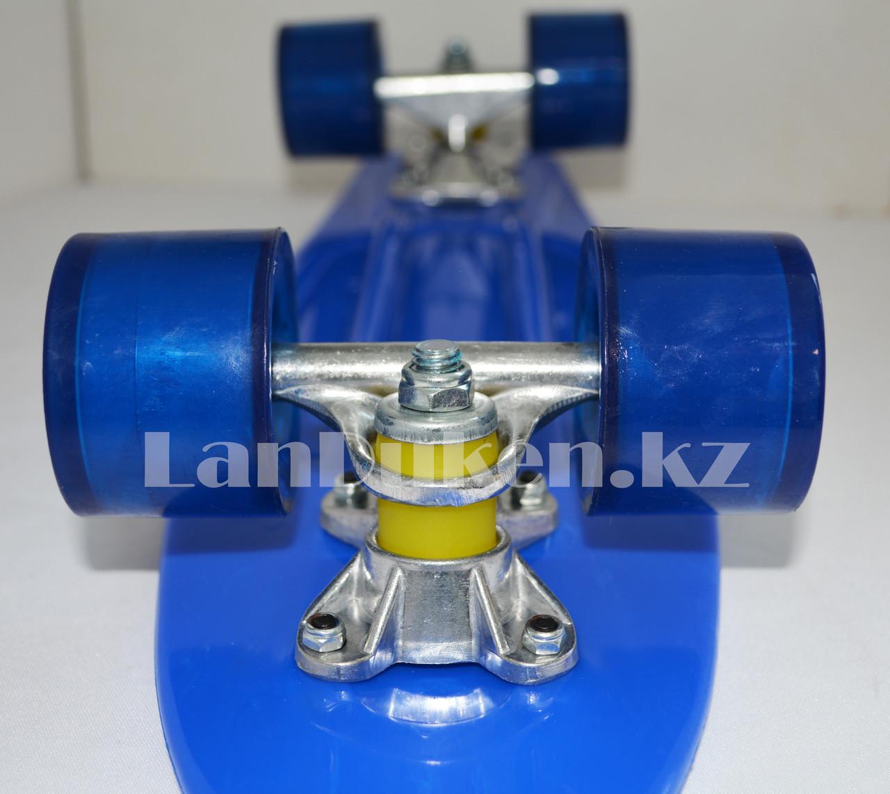 Пенни борд подростковый 56*15 Penny Board с гелевыми колесами синий - фото 7