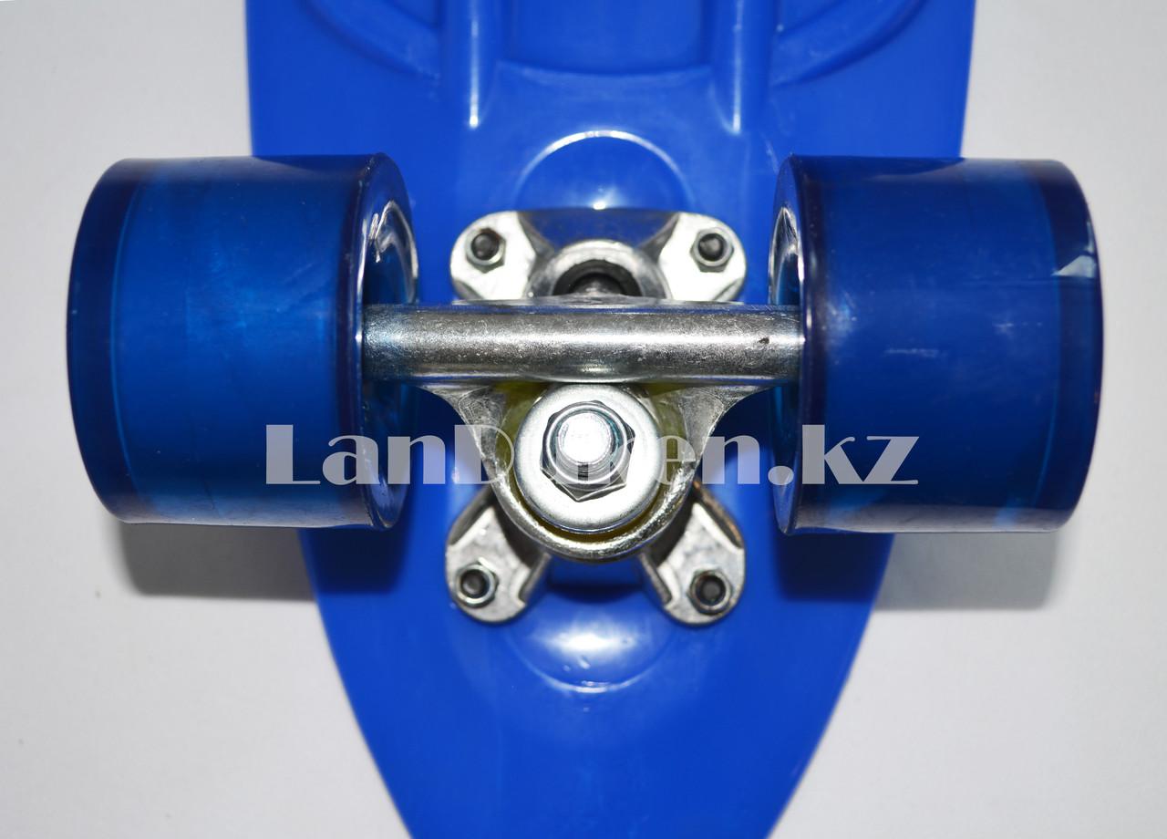 Пенни борд подростковый 56*15 Penny Board с гелевыми колесами синий - фото 8