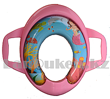 Накладка детская для унитаза с ручками, розовая с русалкой