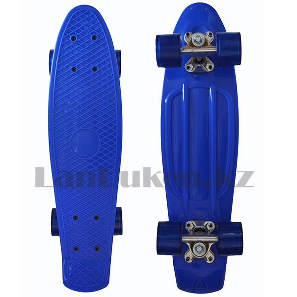 Пенни борд подростковый 56*15 Penny Board с гелевыми колесами синий - фото 1