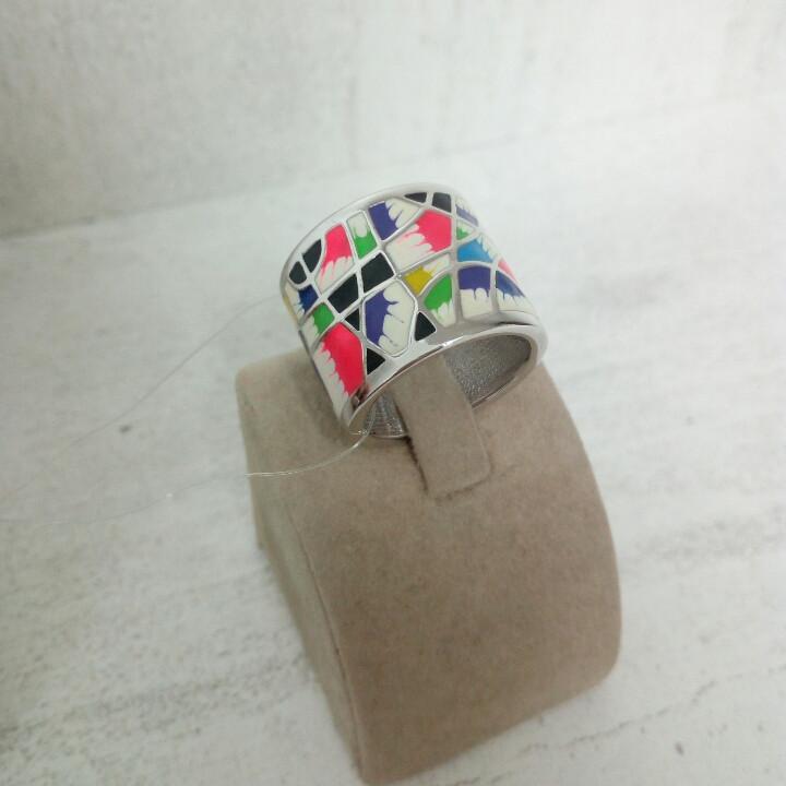 Кольцо с разноцветной эмалью