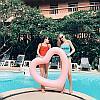 Надувной круг для плавания Сердце, 120 см, розовый, красный, фото 3