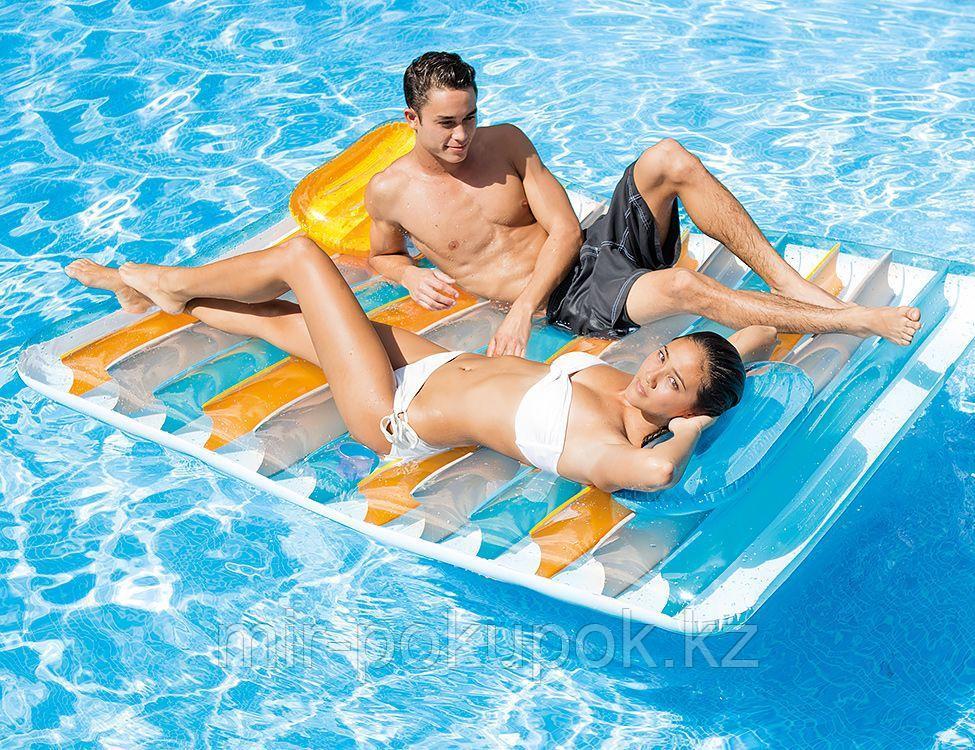 Пляжный надувной матрас плот Intex для двоих с подголовниками, 198*160 см, Intex 56897