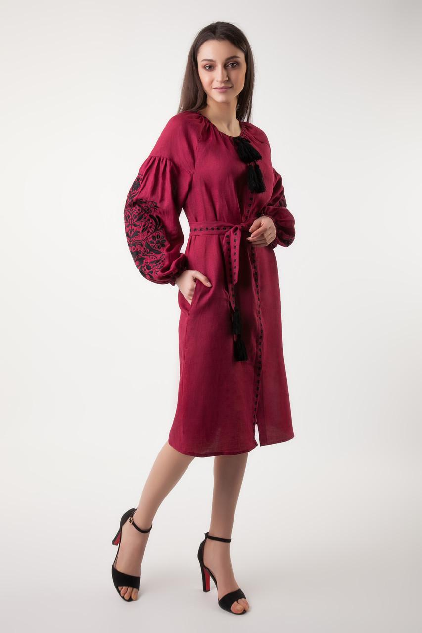 Платье с вышивкой Дерево жизни, бордовый лен, черная вышивка - фото 3