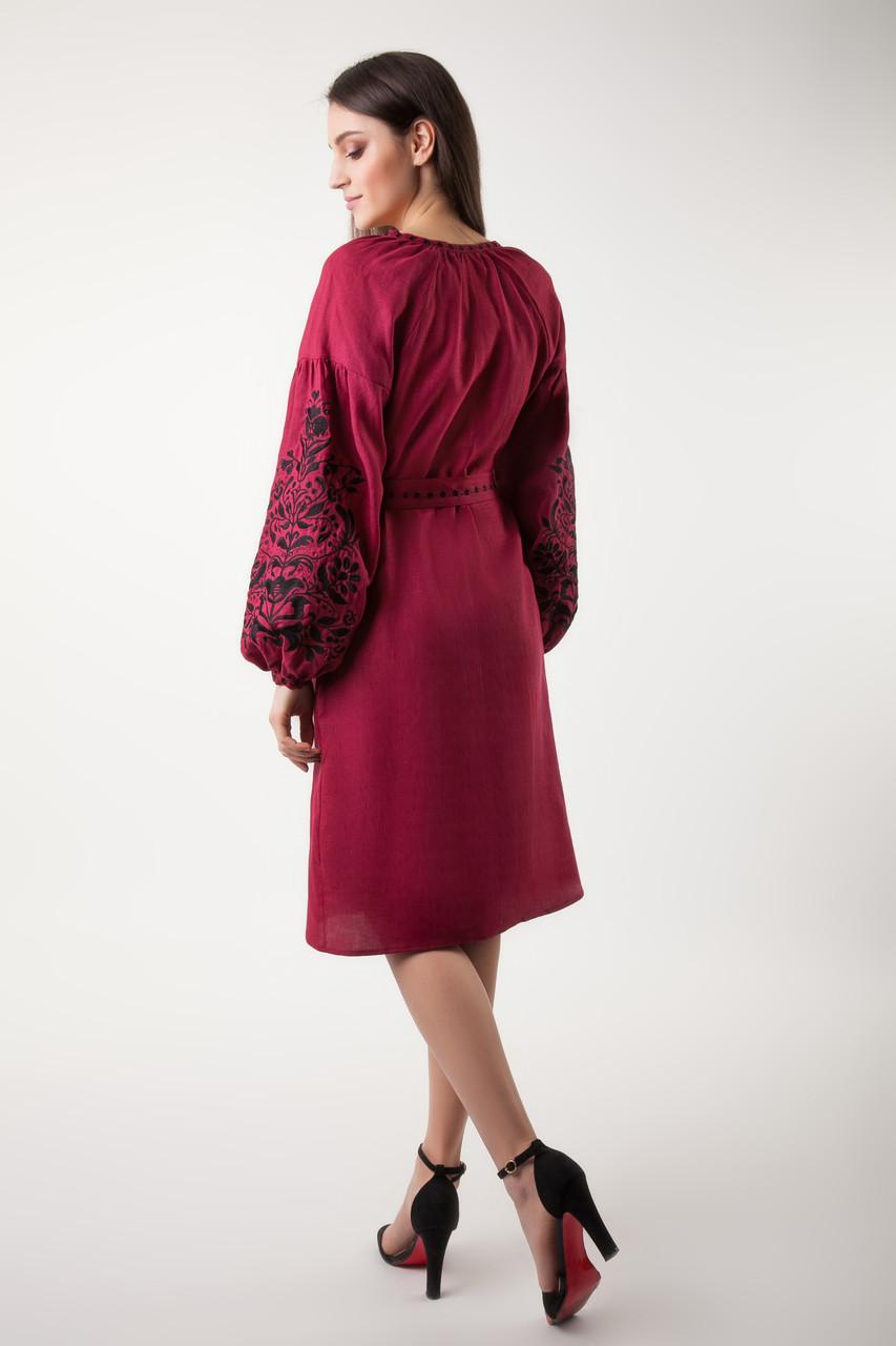 Платье с вышивкой Дерево жизни, бордовый лен, черная вышивка - фото 4