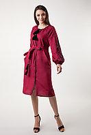 Платье с вышивкой Дерево жизни, бордовый лен, черная вышивка