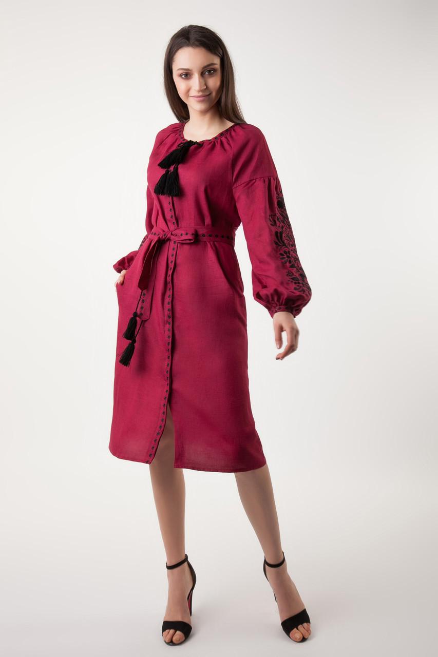 Платье с вышивкой Дерево жизни, бордовый лен, черная вышивка - фото 1