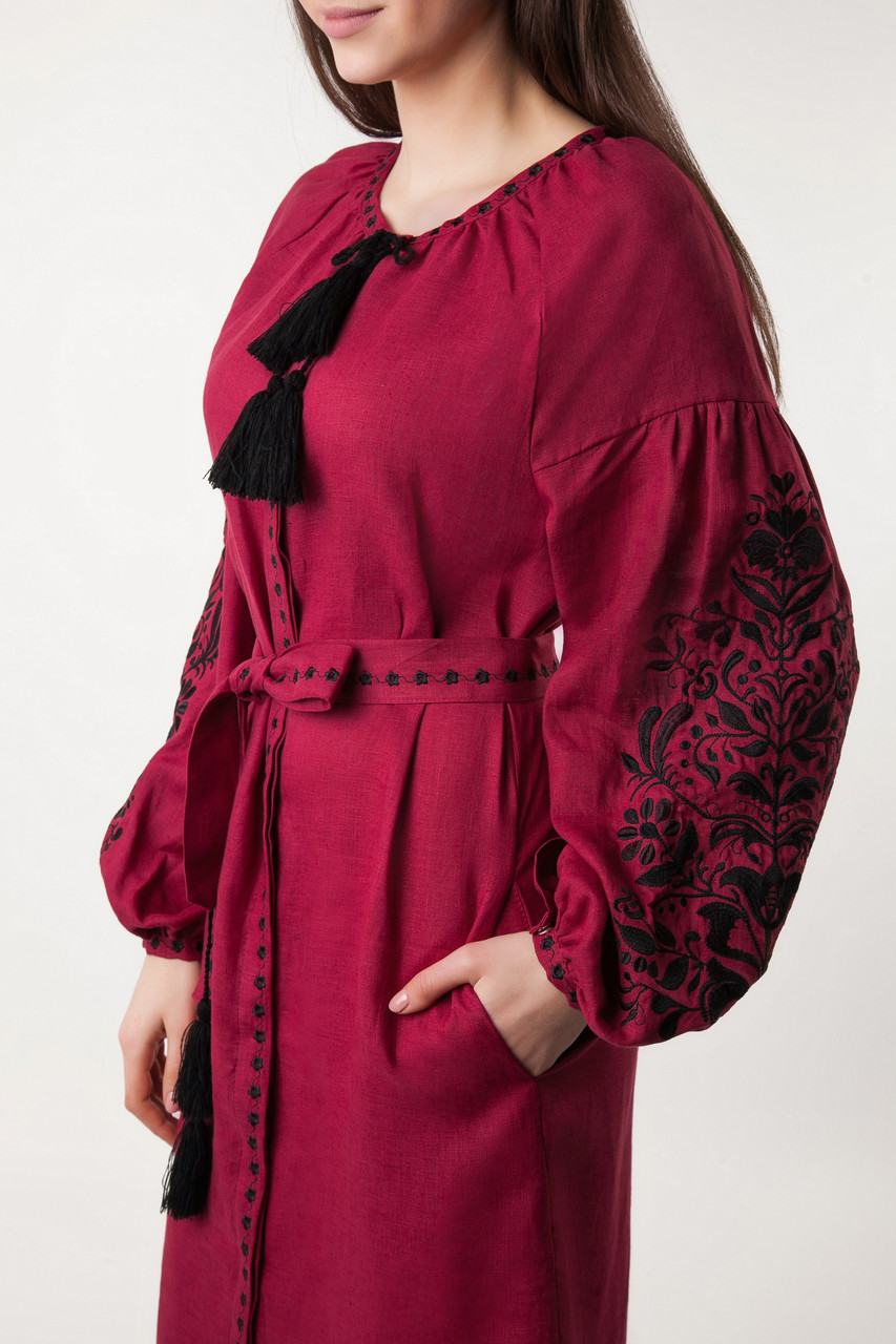 Платье с вышивкой Дерево жизни, бордовый лен, черная вышивка - фото 5