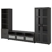 Шкаф для ТВ  комбин/стеклян дверцы БРИМНЭС черный ИКЕА, IKEA, фото 1