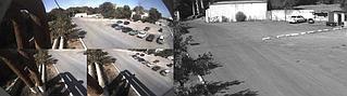 Модульная камера Mobotix M15D-Sec c двумя матрицами. Черно белая матрица используется для распознавания гос авто номеров на въезде. Цветная матрица для общего обзора прилегающей территории с линзой на 180 градусов