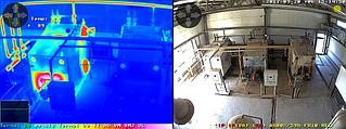 Модульная камера Mobotix M15D-Sec c двумя матрицами. Цветная матрица используется для видеомониторинга в котельной станции. Вторая тепловизионная матрица для автоматического контроля от превышения температуры котлов