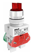 Переключатель ANC-3 ПЕ-22 мм на 3 полож. I-O-II 1НО+1НЗ  красный DEKraft