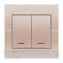 702-3030-112 Выключатель 2клавишный с индикатором скрытой установки Deriy