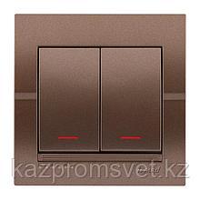 702-3131-112 Выключатель 2клавишный с индикатором скрытой установки Deriy