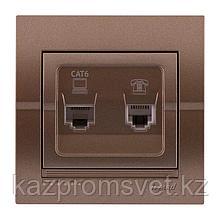 702-3131-143 Розетка компьютерно-телефонная cкрытой установки Deriy