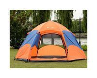 Палатка 4-х местная Hanlu HL-8206-2, 2,4*2,4*1,35 м., (190Т, 2000 мм., автомат, двуслойная), синяя, PRC
