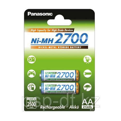 Аккумуляторы Panasonic AA 2700mAh 2BP(BK-3HGAE/2BE) 2шт
