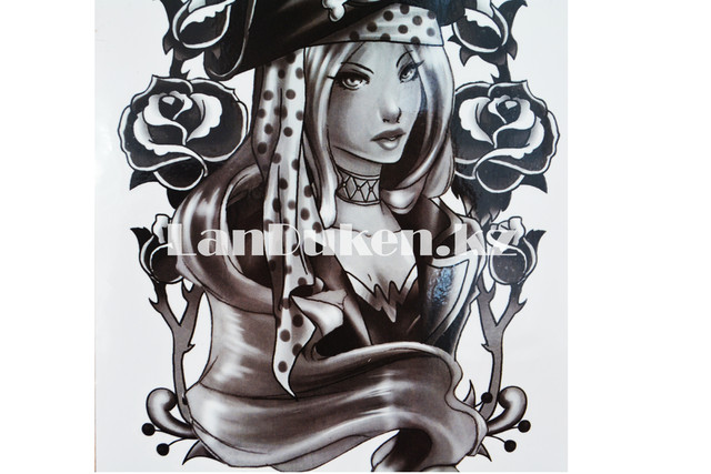 Временное тату Temporary девушка пират 175x125mm Y1-040