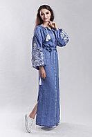Платье с вышивкой Дерево жизни, натуральный лен (джинс)