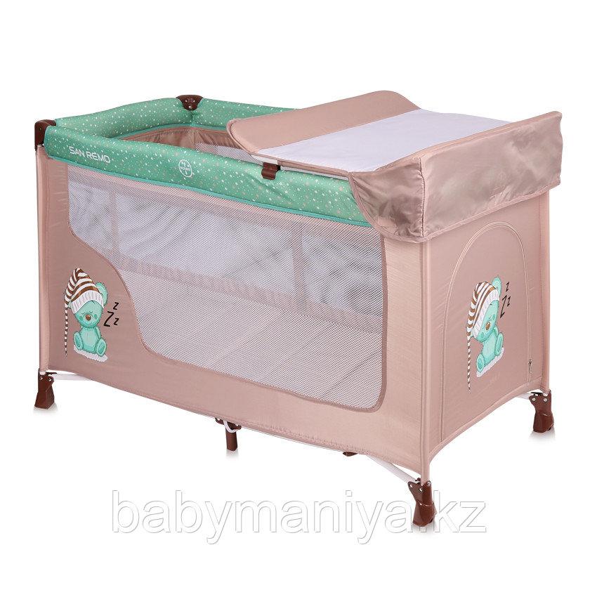 Детская кровать-манеж Lorelli San Remo 2 Бежево- Зеленый / Beige&Green Sleeping Bear 1802