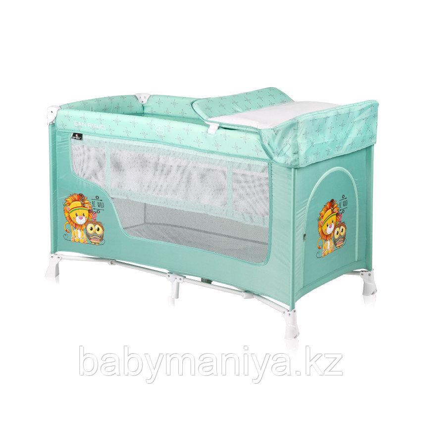 Детская кровать-манеж Lorelli San Remo 2 Зеленый / GREEN INDIANS 1920