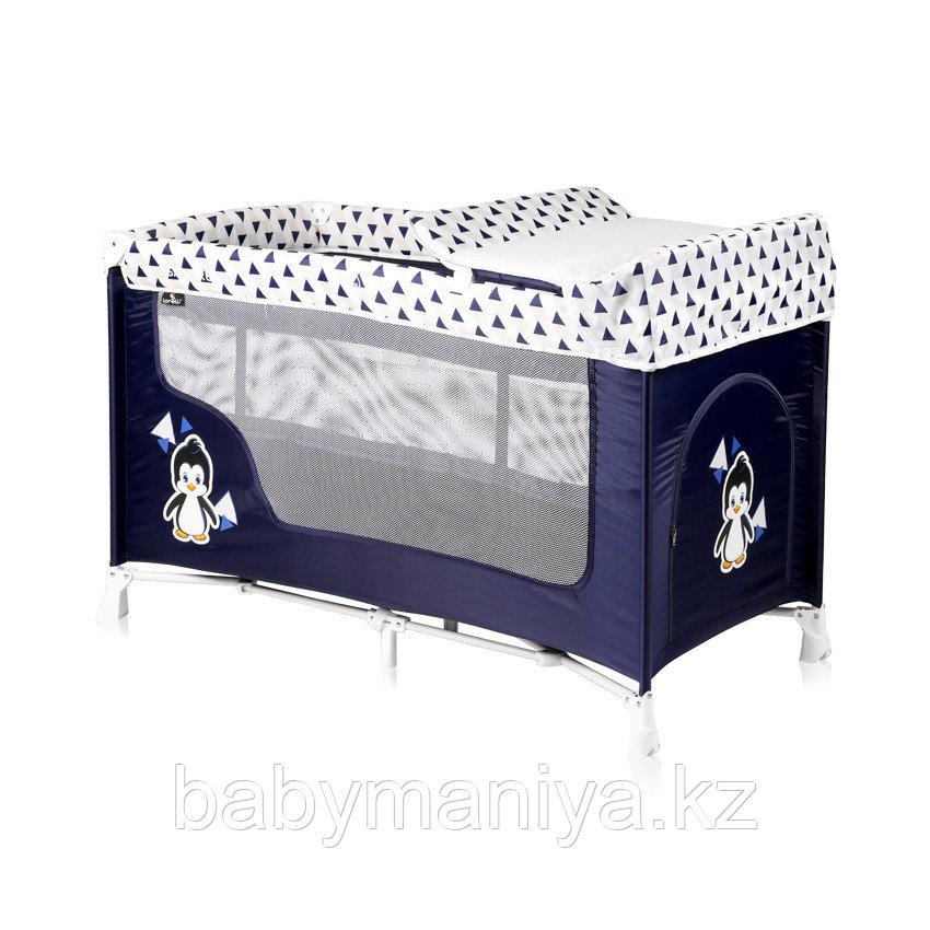 Детская кровать-манеж Lorelli San Remo 2 Сине-белый / Blue&White Penguin 1936