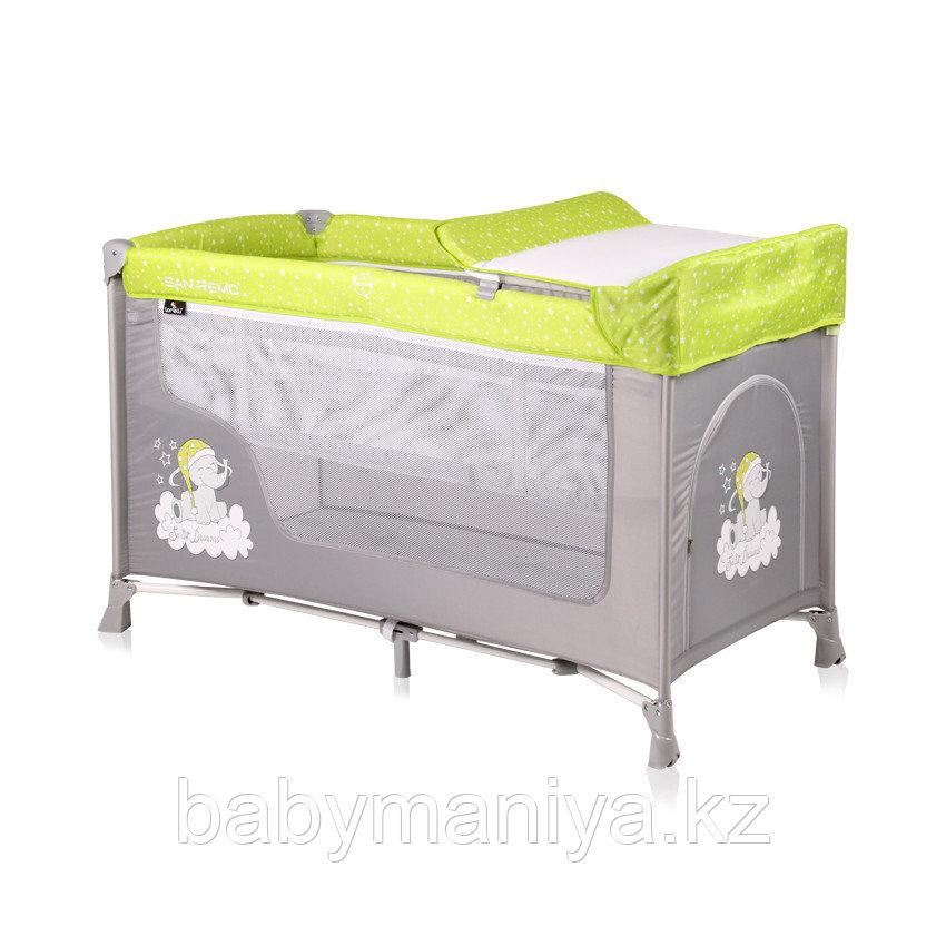 Детская кровать-манеж Lorelli San Remo 2 Зелено-серый / GREEN&GREY ELEPHANT1937