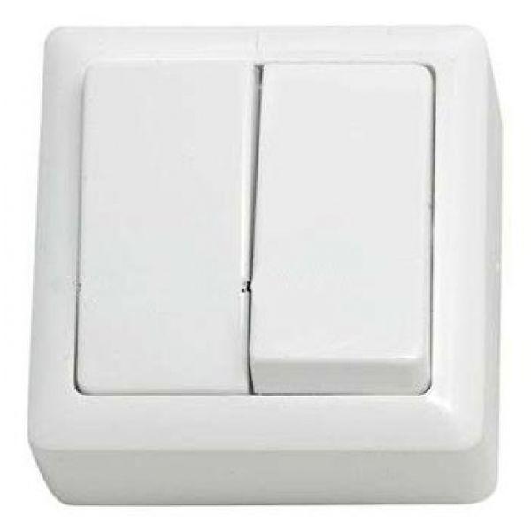 Т.Выключатель 2кл.накладной белый