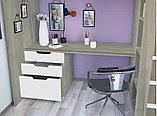 Кровать - чердак Polini Simple с письменным столом и шкафом, цвет белый 00-72568, фото 7