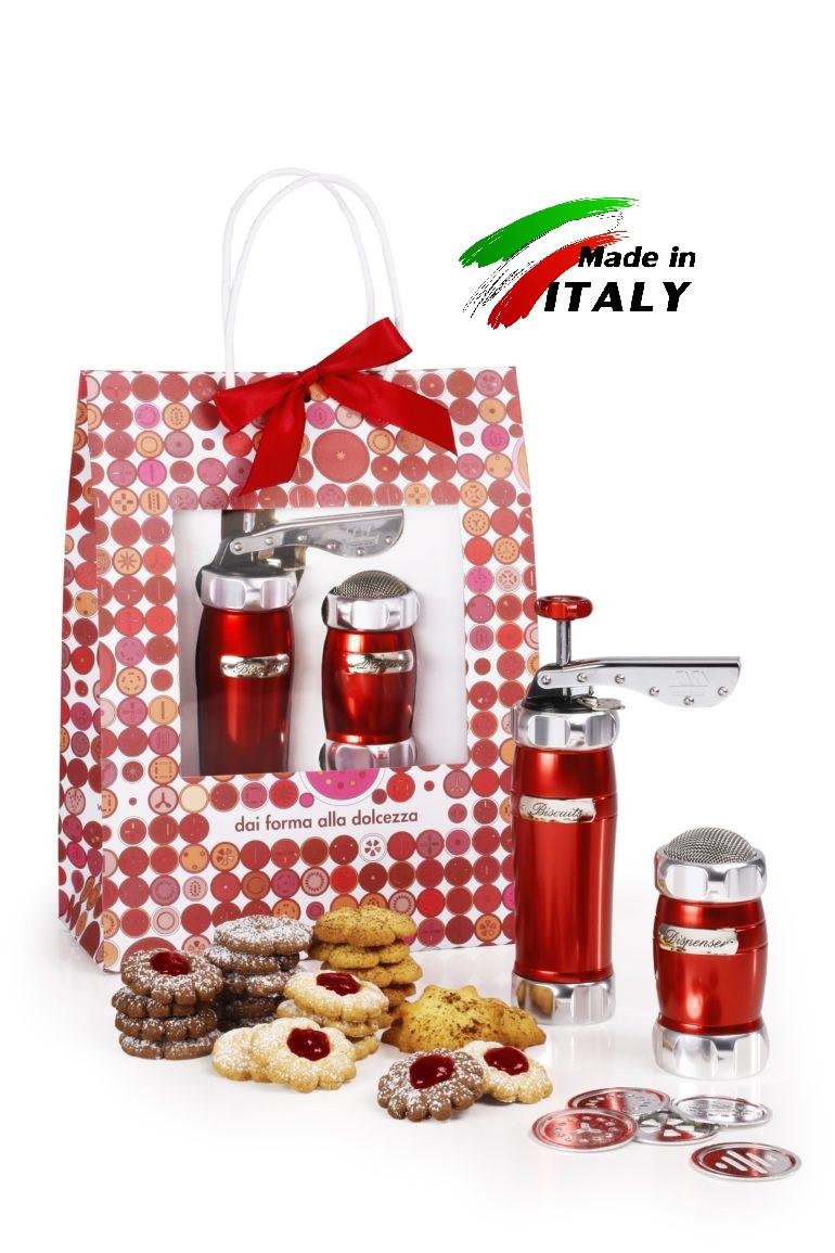 Оптом Marcato Design Pack Rosso Biscuits + Dispenser (2 в 1) пресс для печенья и диспенсер, цвет красный