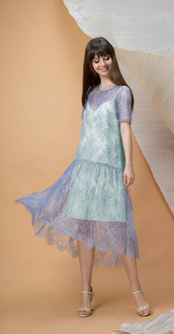 Платье LOKKA-498-Б, нежная бирюза, 42